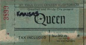 Ticket stub - Queen live at the Auditorium, St. Paul, MN, USA [03.03.1976]