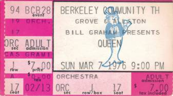 Ticket stub - Queen live at the Berkeley Community Theatre, Berkeley, CA, USA [07.03.1976]