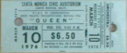 Ticket stub - Queen live at the Santa Monica Civic Auditorium, Santa Monica, CA, USA [10.03.1976]