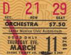 Ticket stub - Queen live at the Santa Monica Civic Auditorium, Santa Monica, CA, USA [11.03.1976]