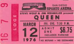 Ticket stub - Queen live at the Sports Arena, San Diego, CA, USA [12.03.1976]