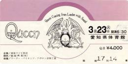 Ticket stub - Queen live at the Aichi Taikukan, Nagoya, Japan [23.03.1976]