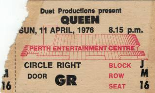 Ticket stub - Queen live at the Entertainments Centre, Perth, Australia [11.04.1976]