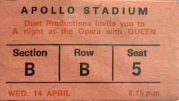 Ticket stub - Queen live at the Apollo Stadium, Adelaide, Australia [14.04.1976]