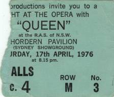 Ticket stub - Queen live at the Hordern Pavilion, Sydney, Australia [17.04.1976]