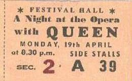 Ticket stub - Queen live at the Festival Hall, Melbourne, Australia [19.04.1976]