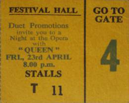 Ticket stub - Queen live at the Festival Hall, Brisbane, Australia [23.04.1976]