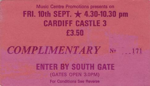 Ticket stub - Queen live at the Castle, Cardiff, UK [10.09.1976]