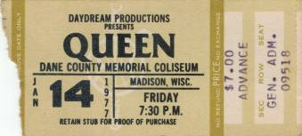 Ticket stub - Queen live at the Dane County Coliseum, Madison, WI, USA [14.01.1977]