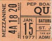 Ticket stub - Queen live at the St. John Arena, Columbus, OH, USA [15.01.1977]