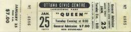 Ticket stub - Queen live at the Civic Centre, Ottawa, Canada [25.01.1977]