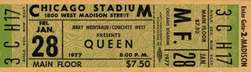 Ticket stub - Queen live at the Stadium, Chicago, IL, USA [28.01.1977]