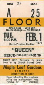 Ticket stub - Queen live at the Maple Leaf Gardens, Toronto, Canada [01.02.1977]