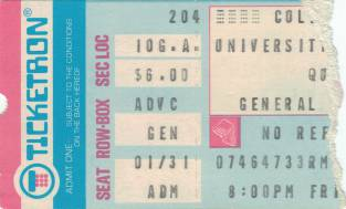 Ticket stub - Queen live at the Cole Field House, University of Maryland, College Park, MD, USA [04.02.1977]