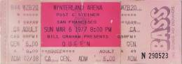 Ticket stub - Queen live at the Winterland Arena, San Francisco, CA, USA [06.03.1977]