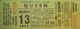 Ticket stub - Queen live at the Arena, Seattle, WA, USA [13.03.1977]