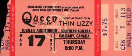 Ticket stub - Queen live at the Jubilee Auditorium, Calgary, Canada [17.03.1977]