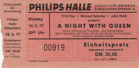Ticket stub - Queen live at the Phillipshalle, Düsseldorf, Germany [16.05.1977]