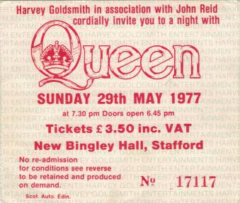 Ticket stub - Queen live at the New Bingley Hall, Stafford, UK [29.05.1977]