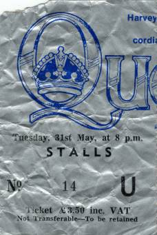 Ticket stub - Queen live at the Apollo Theatre, Glasgow, UK [31.05.1977]