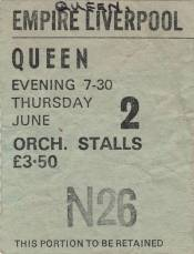 Ticket stub - Queen live at the Empire Theatre, Liverpool, UK [02.06.1977]