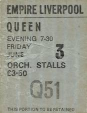 Ticket stub - Queen live at the Empire Theatre, Liverpool, UK [03.06.1977]