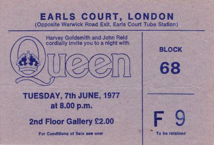 Ticket stub - Queen live at the Earls Court, London, UK [07.06.1977]