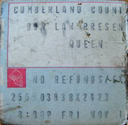 Ticket stub - Queen live at the Civic Centre, Portland, ME, USA [11.11.1977]