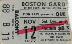 Ticket stub - Queen live at the Garden, Boston, MA, USA [12.11.1977]