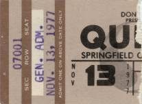 Ticket stub - Queen live at the Civic Centre, Springfield, MA, USA [13.11.1977]