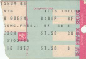 Ticket stub - Queen live at the Memorial Coliseum, New Haven, CT, USA [16.11.1977]