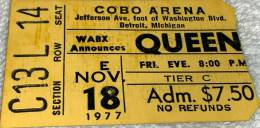 Ticket stub - Queen live at the Cobo Hall, Detroit, MI, USA [18.11.1977]