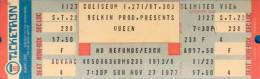 Ticket stub - Queen live at the Coliseum, Richfield, OH, USA [27.11.1977]