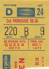 Ticket stub - Queen live at the Madison Square Garden, New York, NY, USA [01.12.1977]