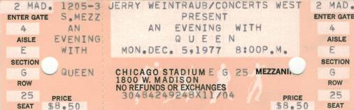 Ticket stub - Queen live at the Stadium, Chicago, IL, USA [05.12.1977]