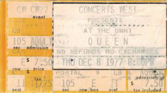 Ticket stub - Queen live at the Omni, Atlanta, GA, USA [08.12.1977]