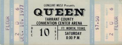 Ticket stub - Queen live at the Convention Centre, Fort Worth, TX, USA [10.12.1977]