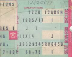 Ticket stub - Queen live at the Long Beach Arena, Long Beach, CA, USA [20.12.1977]