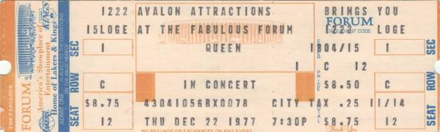Ticket stub - Queen live at the Forum, Inglewood, CA, USA [22.12.1977]