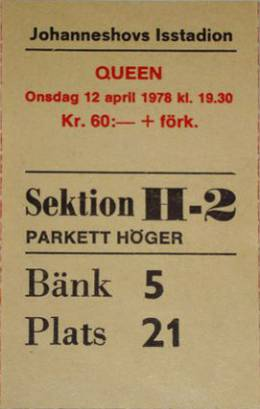 Ticket stub - Queen live at the Ice Stadium, Stockholm, Sweden [12.04.1978]