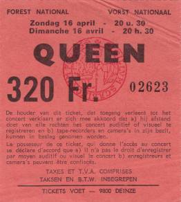 Ticket stub - Queen live at the Forest National, Brussels, Belgium [16.04.1978]