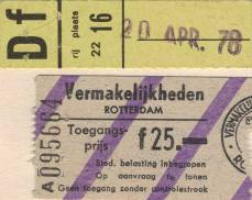 Ticket stub - Queen live at the Ahoy Hall, Rotterdam, The Netherlands [20.04.1978]