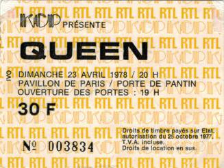 Ticket stub - Queen live at the Pavillon, Paris, France [23.04.1978]