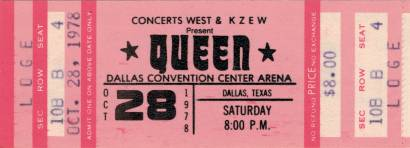 Ticket stub - Queen live at the Convention Centre, Dallas, TX, USA [28.10.1978]