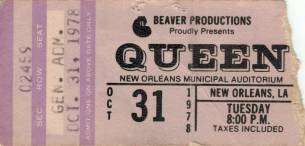 Ticket stub - Queen live at the Municipal Auditorium, New Orleans, LA, USA [31.10.1978]