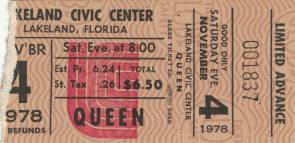 Ticket stub - Queen live at the Civic Centre, Lakeland, FL, USA [04.11.1978]