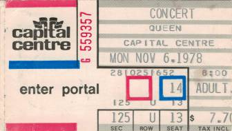 Ticket stub - Queen live at the Capital Centre, Landover, MD, USA [06.11.1978]
