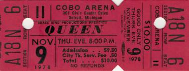 Ticket stub - Queen live at the Cobo Arena, Detroit, MI, USA [09.11.1978]