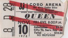 Ticket stub - Queen live at the Cobo Arena, Detroit, MI, USA [10.11.1978]