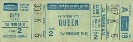 Ticket stub - Queen live at the Madison Square Garden, New York, NY, USA [17.11.1978]